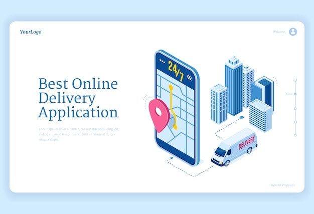 Izometryczna Strona Docelowa Aplikacji Dostawy Online. Darmowych Wektorów