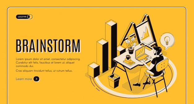 Izometryczna strona docelowa brainstorm, usługa online Darmowych Wektorów