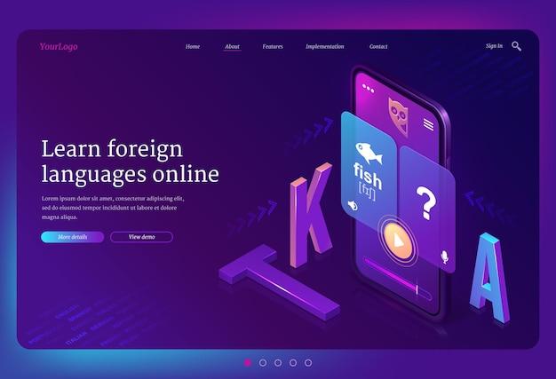 Izometryczna Strona Docelowa Do Nauki Języków Obcych Online. Telefon Komórkowy Z Wielojęzyczną Aplikacją Lub Serwisem Internetowym Do Celów Edukacyjnych Darmowych Wektorów