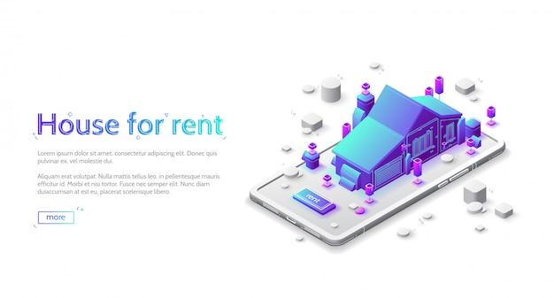 Izometryczna Strona Docelowa Domu Do Wynajęcia, Aplikacja Mobilna Darmowych Wektorów