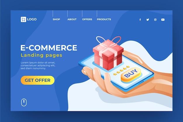 Izometryczna Strona Docelowa E-commerce Kupująca Prezenty Darmowych Wektorów