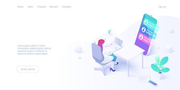 Izometryczna Strona Docelowa Koncepcji Obsługi Klienta Premium Wektorów