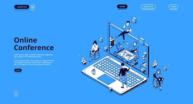 Izometryczna Strona Docelowa Konferencji Online, Drobni Ludzie Biznesu Komunikują Się Za Pośrednictwem Internetowego Połączenia Wideo Na Ogromnym Laptopie. Wirtualne Spotkanie Z Kolegami, Odległe Miejsce Pracy Darmowych Wektorów
