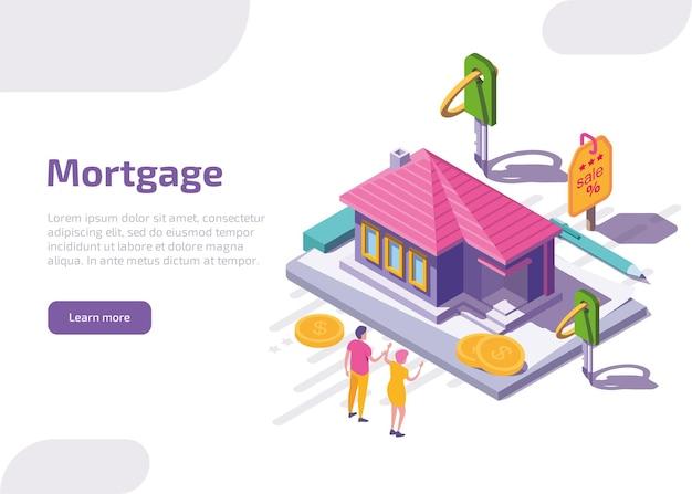 Izometryczna Strona Docelowa Kredytu Hipotecznego Lub Baner Internetowy. Darmowych Wektorów