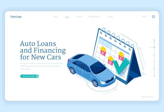 Izometryczna Strona Docelowa Kredytu Samochodowego, Nowa Koncepcja Finansowania Samochodu Ze Stoiskiem Samochodowym W Ogromnym Kalendarzu Darmowych Wektorów