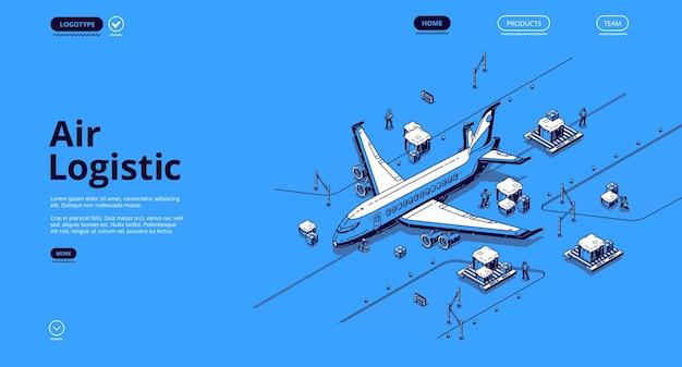 Izometryczna Strona Docelowa Logistyki Lotniczej. Transport Samolotowy Globalna Firma Dostawcza, Import ładunków, Eksport Samolotem, światowy Transport Towarów Lotniczych, 3d Darmowych Wektorów