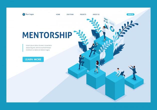 Izometryczna Strona Docelowa Mentoringu I Jej Wpływ Na Sukces Biznesowy. Premium Wektorów