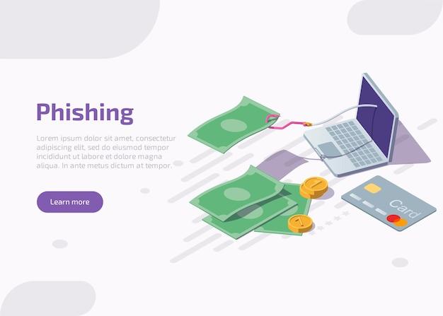Izometryczna Strona Docelowa Phishingu Lub Baner Internetowy. Darmowych Wektorów