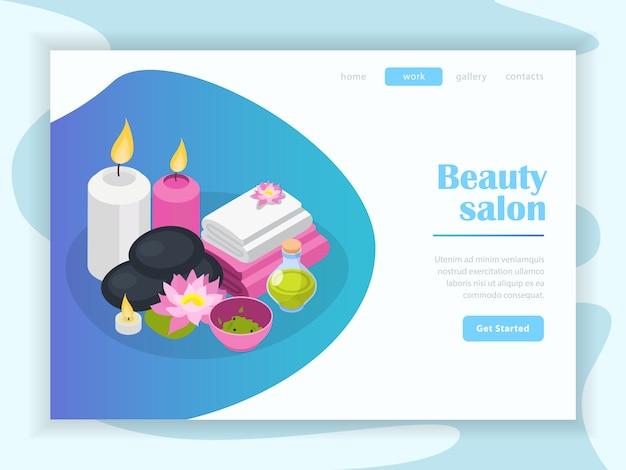 Izometryczna Strona Docelowa Salonu Piękności Darmowych Wektorów