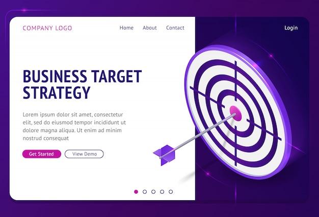 Izometryczna Strona Docelowa Strategii Celu Biznesowego. Darmowych Wektorów