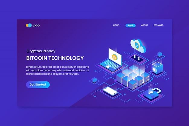 Izometryczna Strona Docelowa Technologii Bitcoin Premium Wektorów