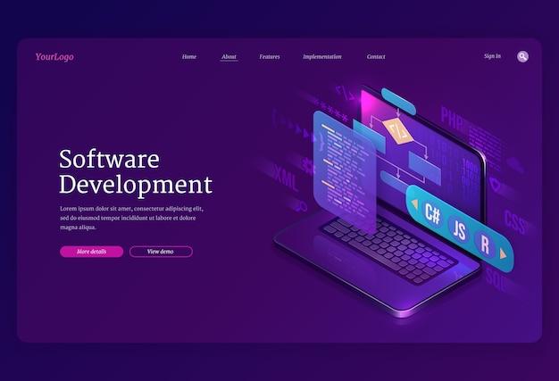 Izometryczna Strona Docelowa Tworzenia Oprogramowania. Kodowanie Strony Internetowej Lub Programu Na Różnych Platformach, Interfejs Języków Programowania Algorytmów Na Ekranie Komputera, Proces Technologiczny, Baner 3d Tworzenia Aplikacji Darmowych Wektorów