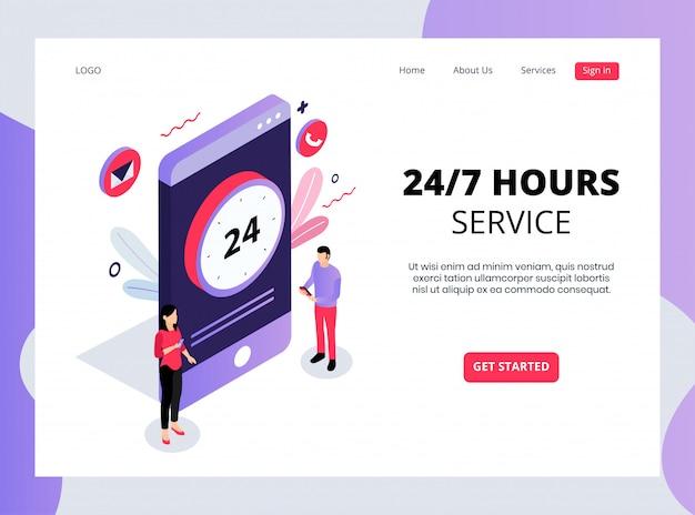 Izometryczna Strona Docelowa Usług 24 Godziny Na Dobę Premium Wektorów