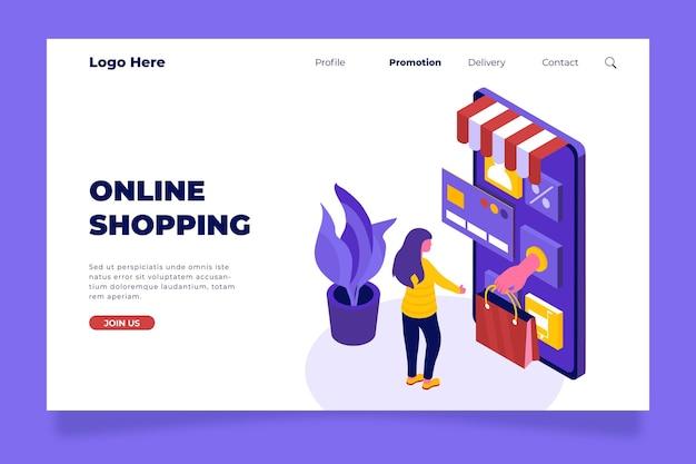 Izometryczna Strona Docelowa Zakupów Online Darmowych Wektorów