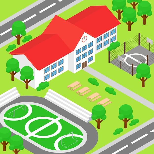 Izometryczna Szkoła I Duży Zielony Dziedziniec Premium Wektorów