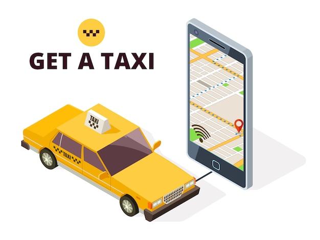 Izometryczna Taksówka Mobilna I Mapa Miasta Gps. System Nawigacji Dla Taxi I życia Z 3d Telefonem I Taxi Samochodu Ilustracją Premium Wektorów