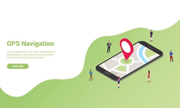 Izometryczna Technologia Nawigacji Gps Dla Szablonu Strony Internetowej Lub Banera Strony Głównej Premium Wektorów