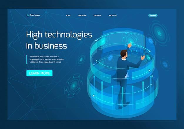 Izometryczna wysoka technologia w biznesie Premium Wektorów