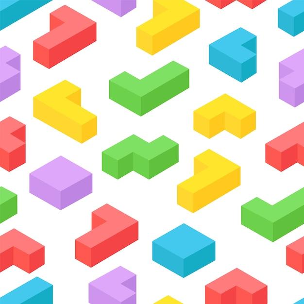Izometryczne 3d Bloki Bezszwowe Tło Premium Wektorów