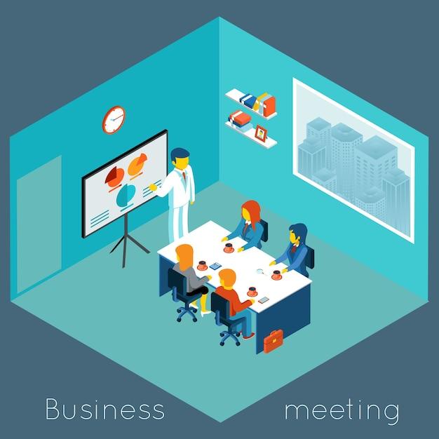 Izometryczne 3d Spotkanie Biznesowe. Praca Zespołowa I Burza Mózgów, Współpraca I Współpracownik, Konferencja Procesowa Darmowych Wektorów