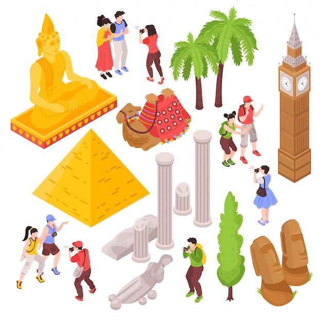 Izometryczne Atrakcje Turystyczne Z Odizolowanymi Obrazami Turystów I Znanych Atrakcji Turystycznych Darmowych Wektorów