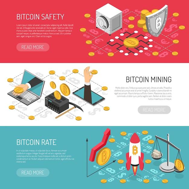 Izometryczne banery bezpieczeństwa bitcoin rate Darmowych Wektorów