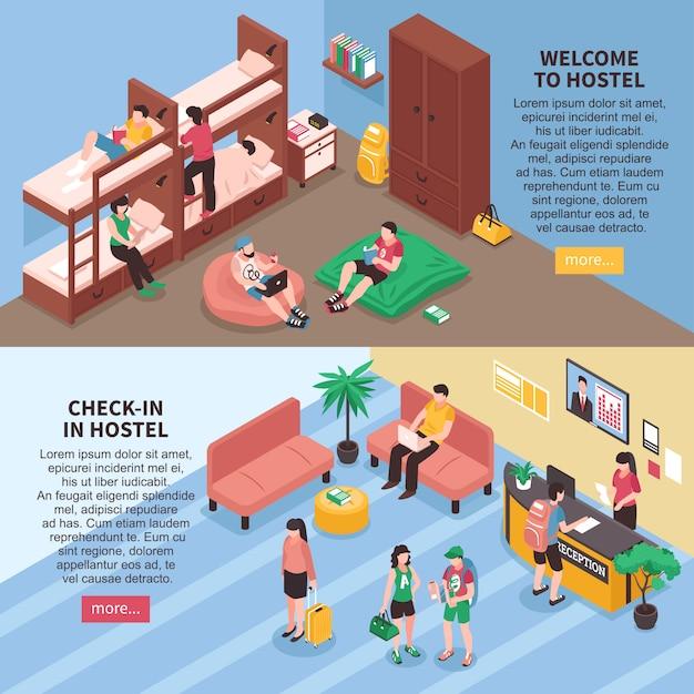 Izometryczne banery pokoje hostelowe Darmowych Wektorów