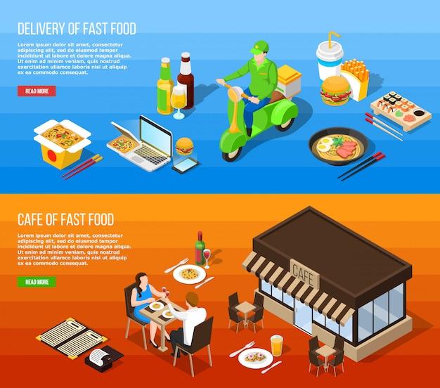 Izometryczne banery poziome dostawy fast food Darmowych Wektorów