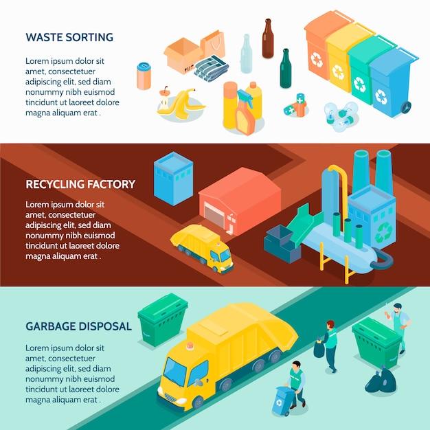 Izometryczne Banery Recyklingu śmieci Darmowych Wektorów