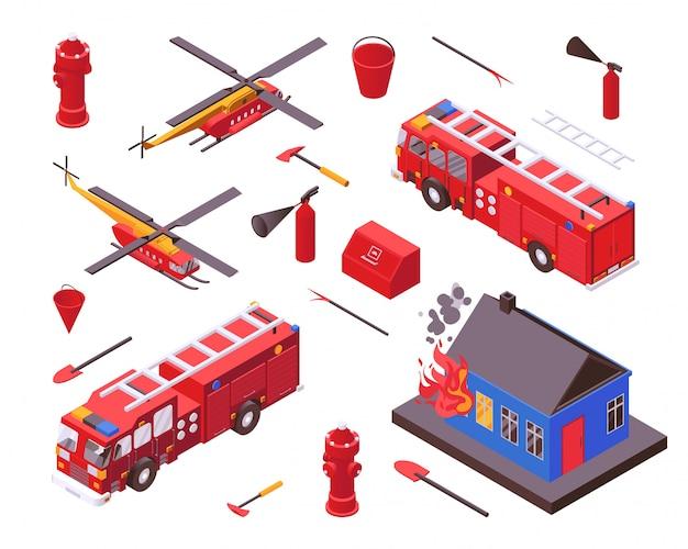 Izometryczne Bezpieczeństwo Przeciwpożarowe, Ilustracja Wyposażenie Strażaka, Sprzęt Straży Pożarnej Zestaw Na Białym Tle Premium Wektorów