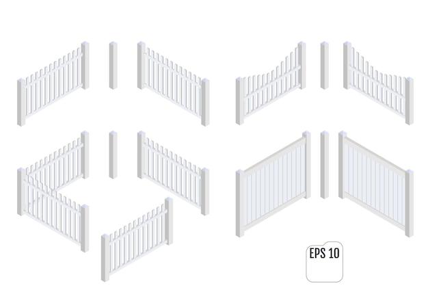 Izometryczne Białe Sekcje Ogrodzenia. Konstruktor Ogrodzeń. Premium Wektorów
