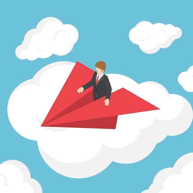Izometryczne biznesmen na papierowy samolot nad chmurą Premium Wektorów