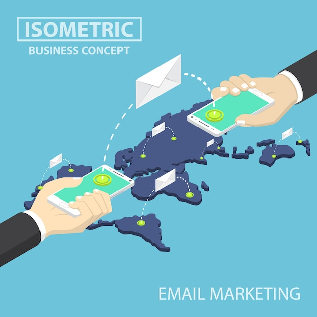 Izometryczne Biznesmen Ręce Trzymając Smartfon Wysyłanie Wiadomości E-mail Premium Wektorów
