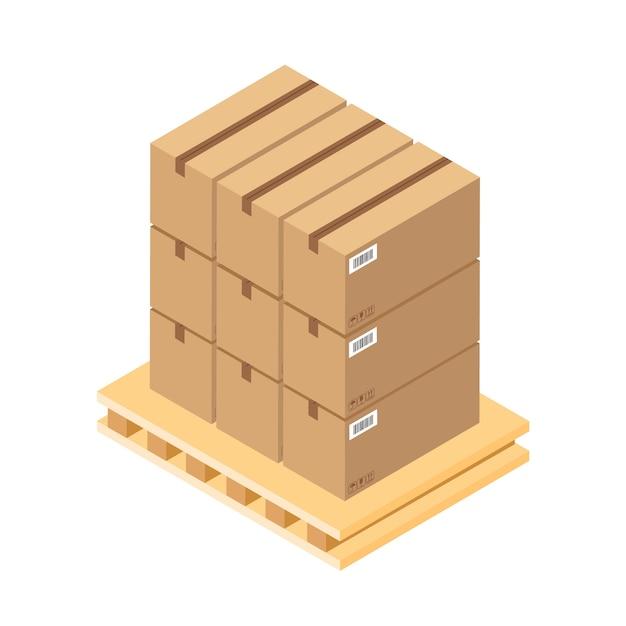 Izometryczne Brązowe Kartony Na Drewnianej Palecie. Skrzynia Na Części Magazynowe Na Drewnianej Tacy. Skrzynia ładunkowa Na Białym Tle Premium Wektorów