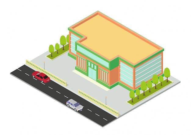 Izometryczne Centrum Handlowe Lub Ikona Budynku Supermarketu Premium Wektorów