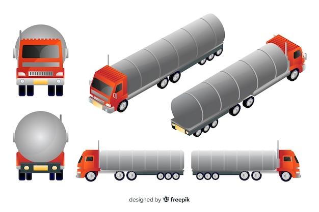 Izometryczne czerwona ciężarówka w różnych widokach Darmowych Wektorów