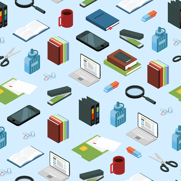 Izometryczne elementy biurowe lub ilustracja wzoru Premium Wektorów