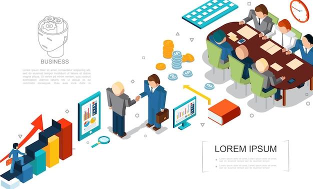 Izometryczne Elementy Biznesowe Zestaw Z Monetami Lupy Wykresów Książka Tablet Komputer Ludzie Biznesu Umowa I Spotkanie Ilustracja Darmowych Wektorów