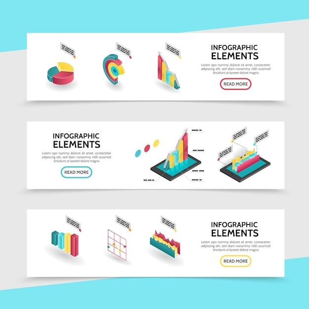 Izometryczne Elementy Infografiki Poziome Bannery Z Wykresami, Wykresami I Diagramami Dla Raportów Biznesowych Darmowych Wektorów