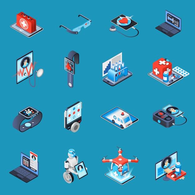 Izometryczne Elementy Medycyny Cyfrowej Darmowych Wektorów