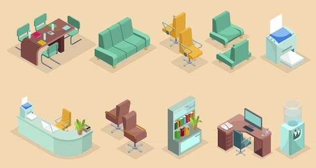 Izometryczne Elementy Wnętrza Biura Zestaw Z Krzesłami Stół Sofa Stacjonarny Regał Komputer Drukarka Laptop Chłodnica Wody Na Białym Tle Premium Wektorów