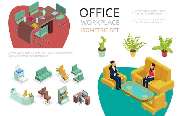 Izometryczne Elementy Wnętrza Biura Zestaw Z Miejscem Do Pracy Do Negocjacji I Odpoczynku Stoły Krzesła Regał Drukarka Sofy Fotele Rośliny Darmowych Wektorów