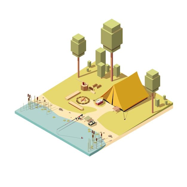 Izometryczne ikona kempingu z namiotem, ogniskiem i wędką. Premium Wektorów