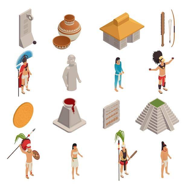 Izometryczne Ikony Cywilizacji Majów Darmowych Wektorów
