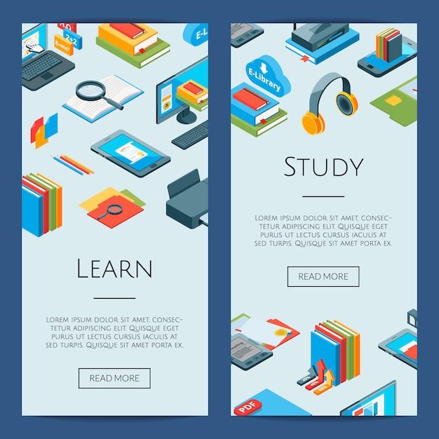 Izometryczne ikony edukacji online. 3d studiuje banery Premium Wektorów