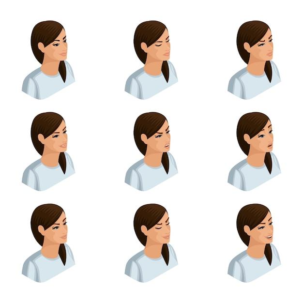 Izometryczne Ikony Emocji Kobiety Biznesu, Głowy Włosów, Twarzy, Oczu, Ust, Nosa. Wyraz Twarzy. Jakościowa Izometria Ludzi Dla Premium Wektorów
