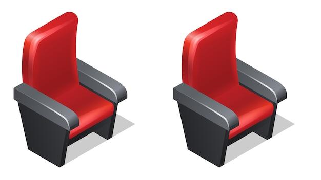 Izometryczne Ikony Kina Czerwony Fotel Z Cieniem Darmowych Wektorów