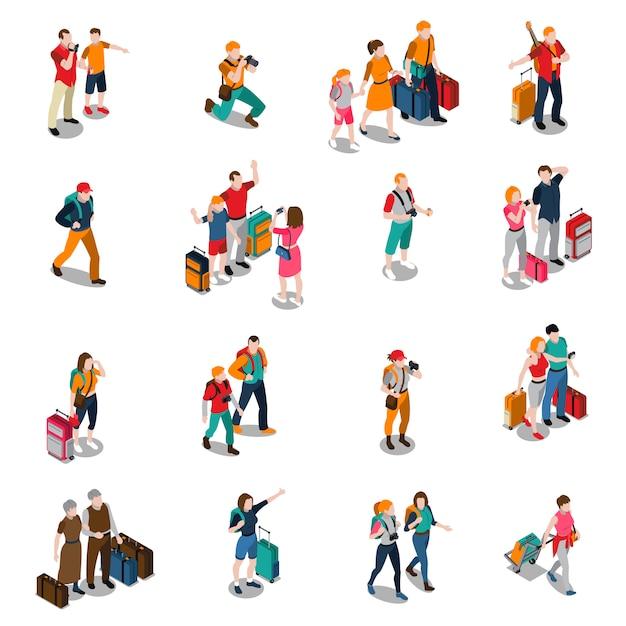 Izometryczne ikony podróży ludzi Darmowych Wektorów