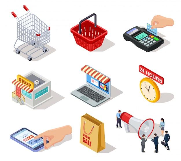 Izometryczne Ikony Zakupów. Sklep E-commerce, Sklep Internetowy I Zakupy Internetowe 3d Symbole Marketingowe Premium Wektorów