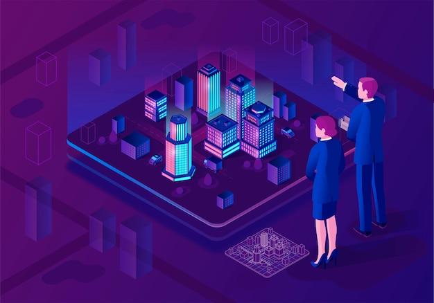 Izometryczne ilustracja inteligentnego miasta Premium Wektorów